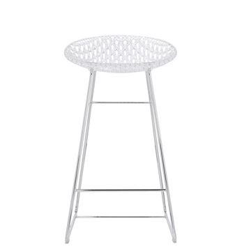 Resim Smatrik Bar Sandalyesi Şeffaf/Krom