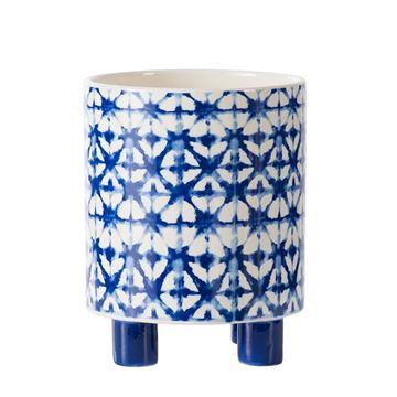 Resim Mavi-Beyaz Ayaklı Saksı 20,5 cm