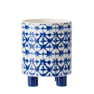 Resim Mavi-Beyaz Ayaklı Saksı 18 cm