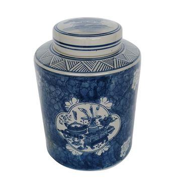 Resim Vazo Kelda Kapaklı Bleu-Blanc 20x25 cm