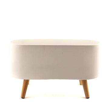 Resim Beyaz Ayaklı Sement Saksı 24x60x35 cm