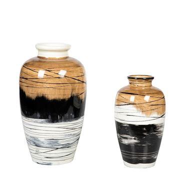 Resim Vazo Beyaz-Kahve-Siyah H:38.5 cm