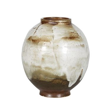 Resim Vazo Beyaz-Kahve 19x20.5 cm
