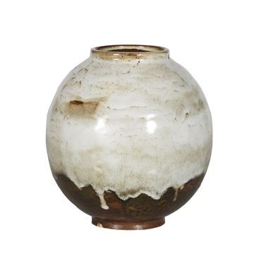 Resim Vazo Beyaz-Kahve 24.5x25.5 cm
