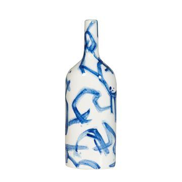 Resim Vazo Mavi-Beyaz H:37 cm