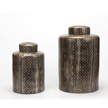 Resim Vazo Gri-Beyaz H:41 cm