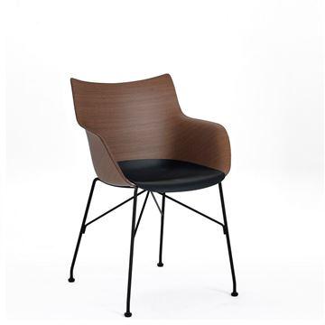 Resim Q/Wood Kollu Sandalye Koyu/Siyah/Siyah