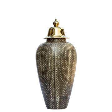 Resim Vazo Dore Kapaklı Kahve-Beyaz H:49,5 cm