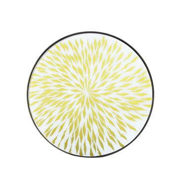 Resim Tepsi Cam Yuvarlak Çiçek Desenli Q:61