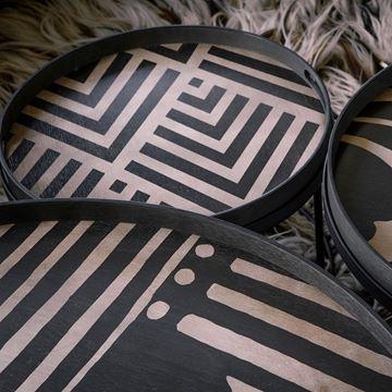 Resim Tepsi Ahşap Yuvarlak Siyah-Bej Q:62 cm