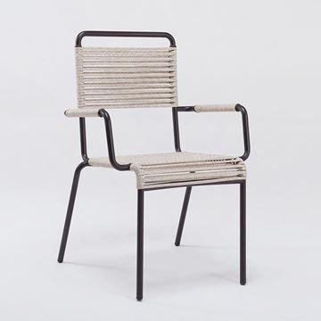 Resim Camargue Kollu Sandalye Bronz Kahve Halatlı Q:60 cm