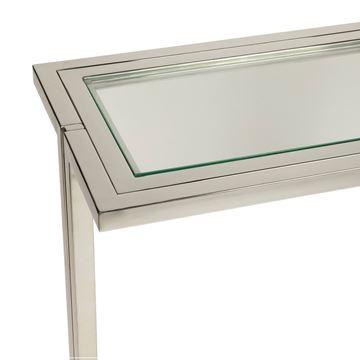 Resim Konsol Camlı Parlak Çelik 150x76 cm