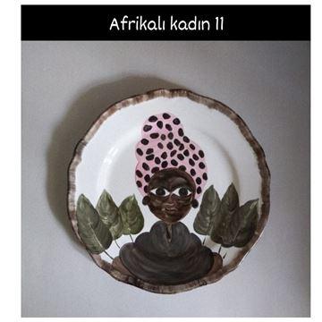 Resim Afrikalı Kadın Desen Tabak 11