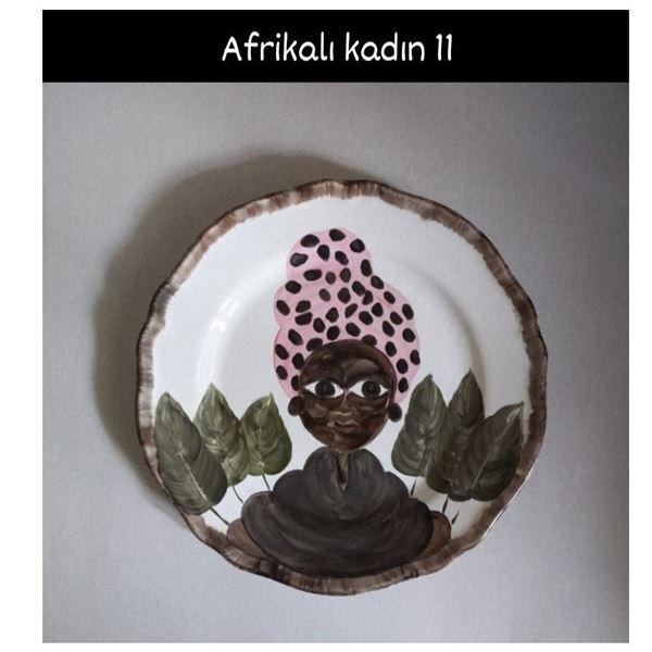 resm Afrikalı Kadın Desen Tabak 11