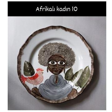Resim Afrikalı Kadın Desen Tabak 10