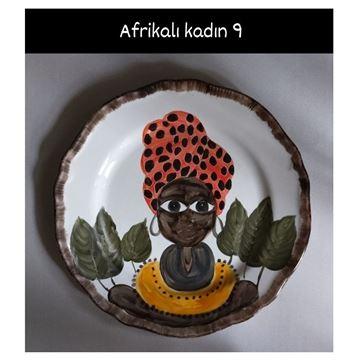 Resim Afrikalı Kadın Desen Tabak 9