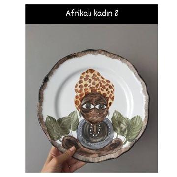 Resim Afrikalı Kadın Desen Tabak 8