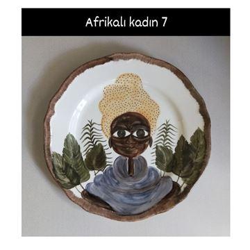 Resim Afrikalı Kadın Desen Tabak 7