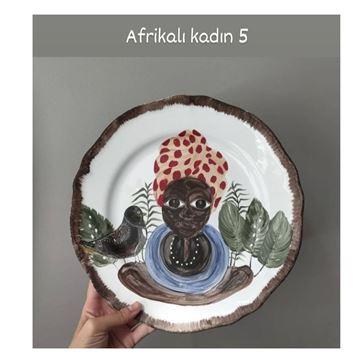 Resim Afrikalı Kadın Desen Tabak 5