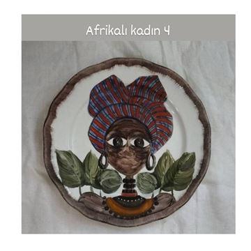 Resim Afrikalı Kadın Desen Tabak 4