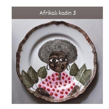Resim Afrikalı Kadın Desen Tabak 3