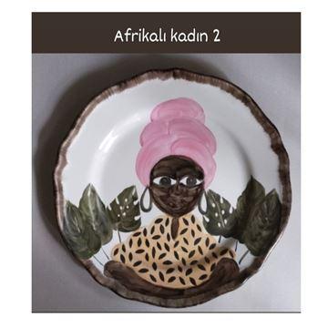 Resim Afrikalı Kadın Desen Tabak 2
