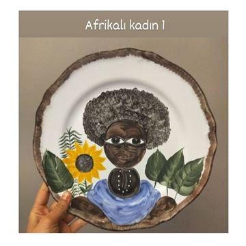 Resim Afrikalı Kadın Desen Tabak 1