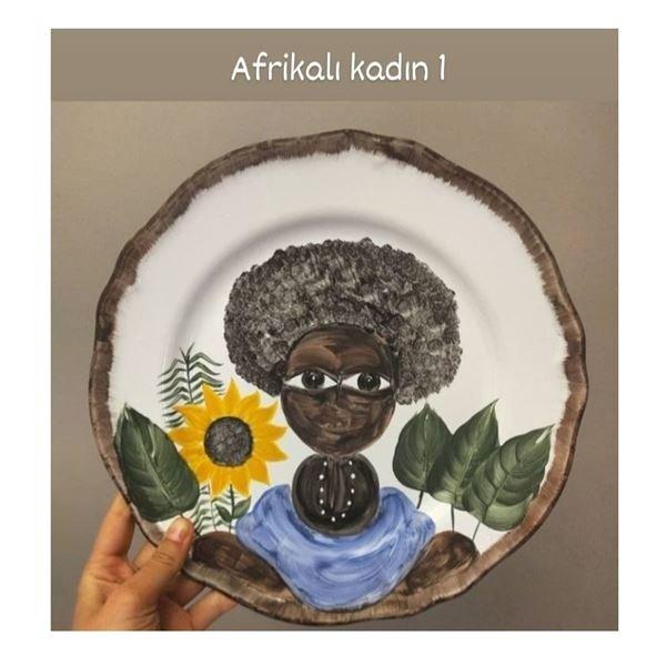 resm Afrikalı Kadın Desen Tabak 1