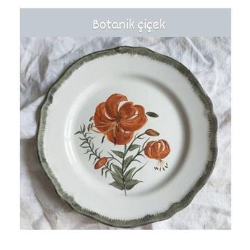 Resim Botanik Çiçek Desen Tabak