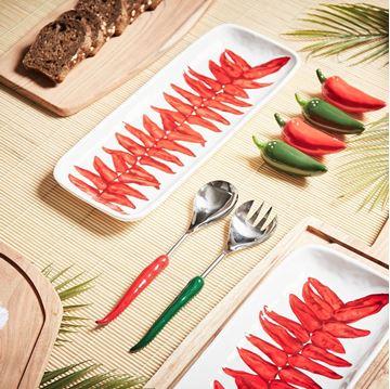 Resim Salata 2'li Servis Seti Kırmızı-Yeşil