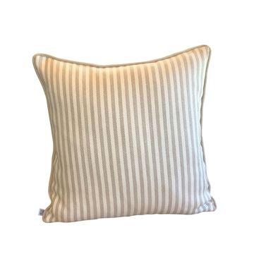 Resim Keten Çizgili Kare Yastık 50x50 cm