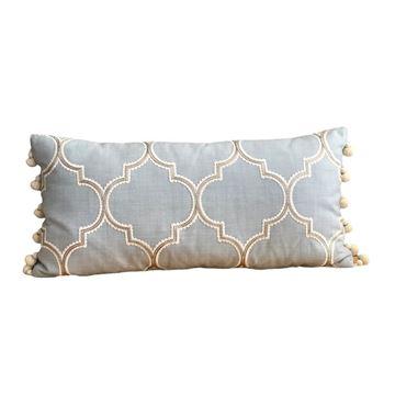 Resim Ponponlu Uzun Yastık 30x65 cm