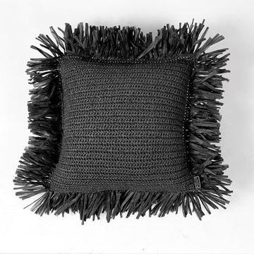 Resim Raffia Kırlent Siyah 45x45 cm