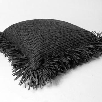 Resim Raffia Kırlent Siyah 50x70 cm