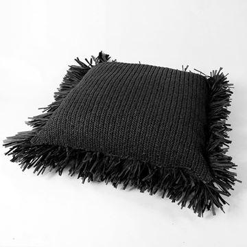 Resim Raffia Kırlent Siyah 70x70 cm