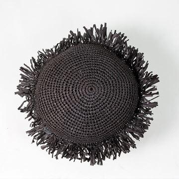 Resim Raffia Kırlent Siyah Q:35 cm
