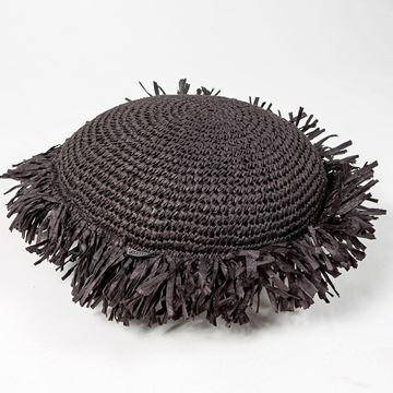 Resim Raffia Kırlent Siyah Q:40 cm