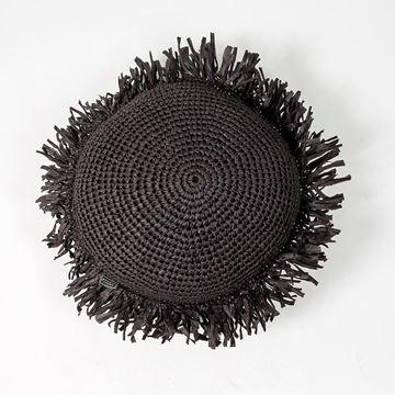 Resim Raffia Kırlent Siyah Q:45 cm