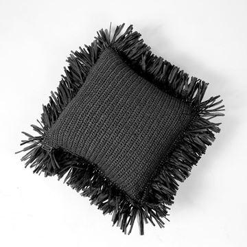 Resim Raffia Kırlent Siyah 50x50 cm