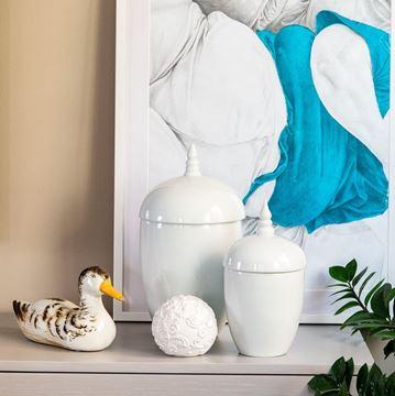 Resim Beyaz Kapaklı Seramik Dekoratif Obje 38cm